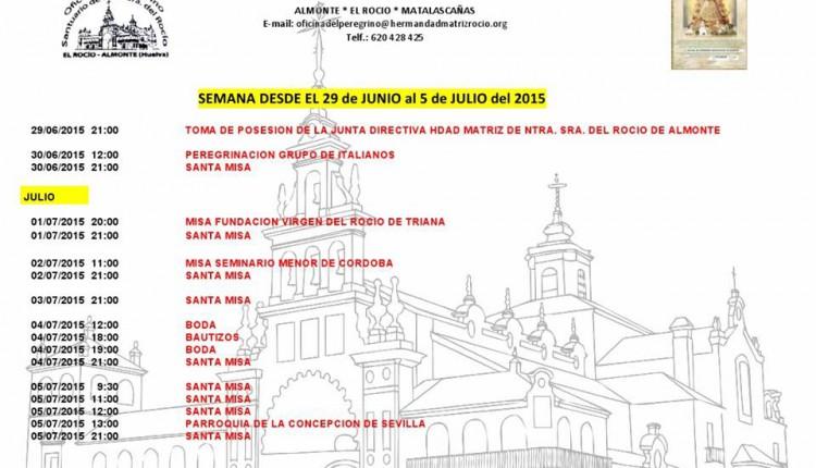 Calendario de Peregrinaciones del 29 de junio al 5 de julio de 2015