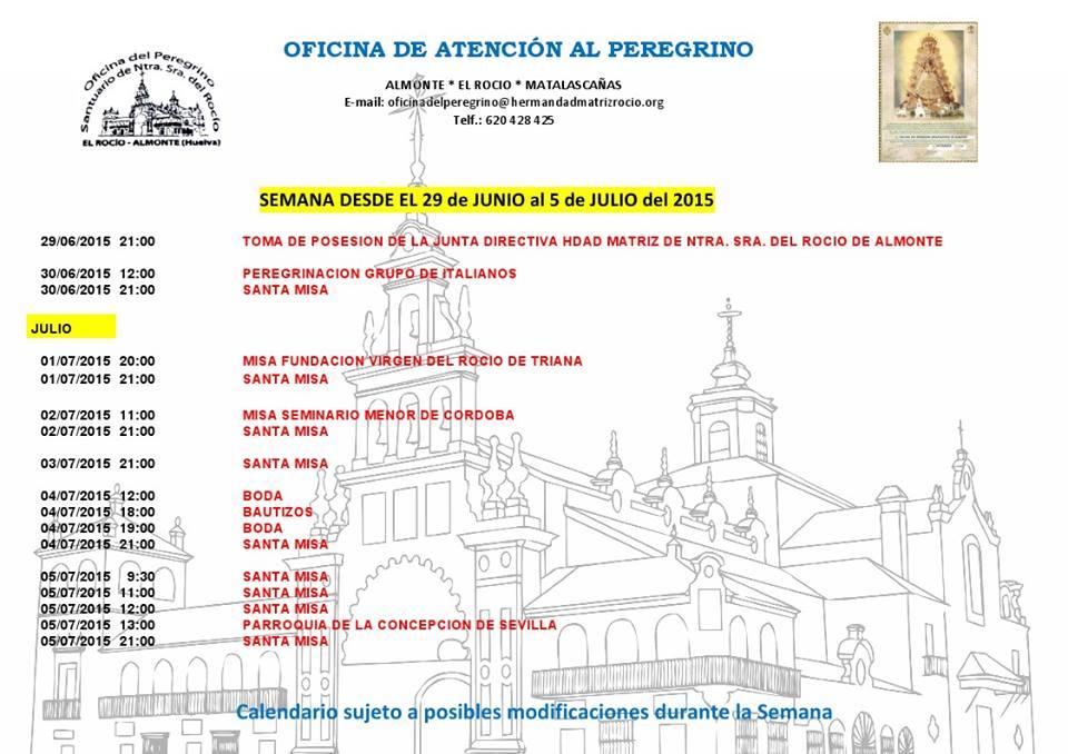 Calendario del 29 al 5 de junio 2015