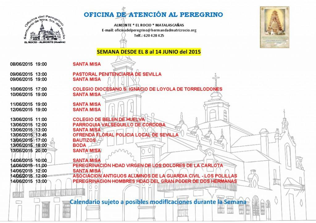 Calendario del 8 a 14 junio 2015