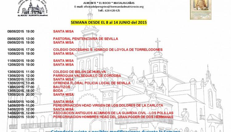Calendario de Peregrinaciones del 8 al 14 de junio de 2015
