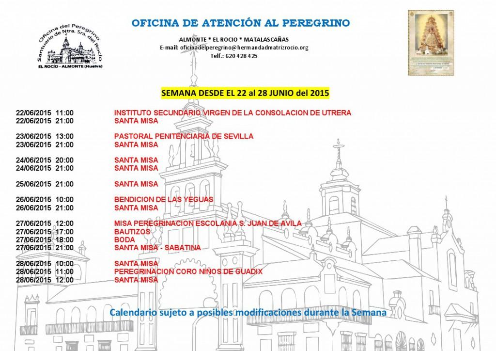 calendario del 22 al 28 de junio 2015