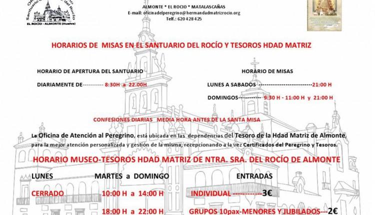 Horarios de Misas en el Santuario del Rocío para julio y agosto 2015