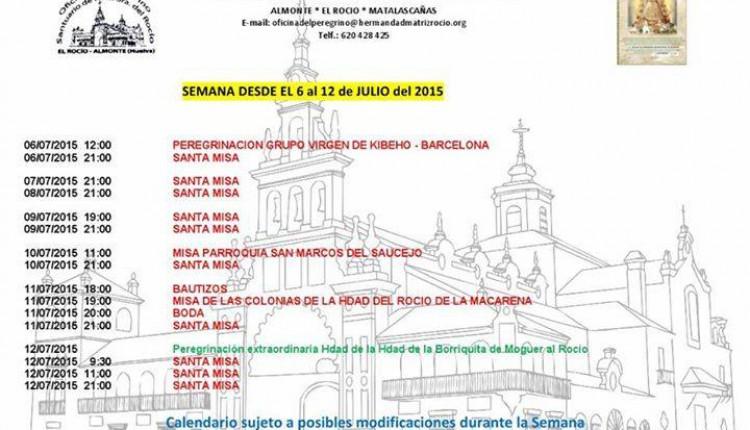 Calendario de Peregrinaciones del 6 al 12 de julio de 2015