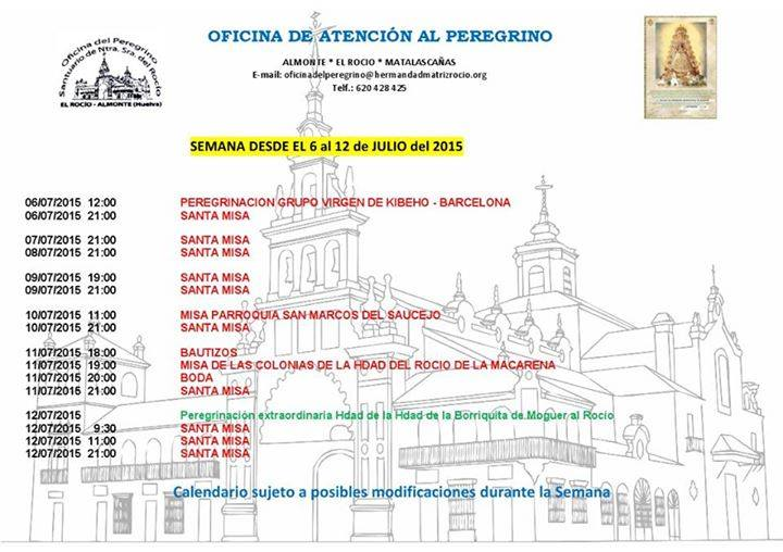 Calendario pergrinaciones 6 al 12 de julio 2015