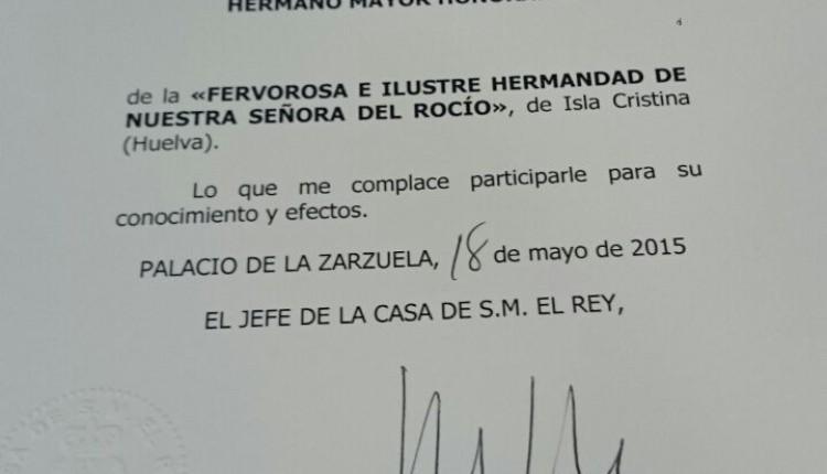 Hermandad de Isla Cristina – El Rey Felipe VI de España HERMANO MAYOR HONORARIO.