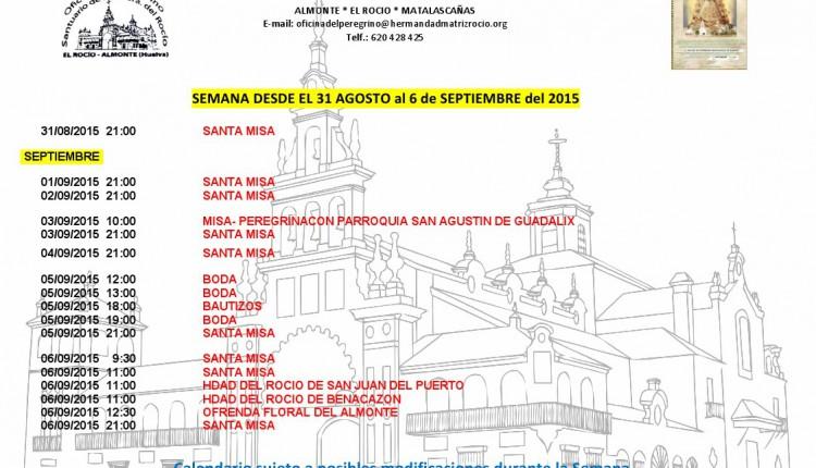 Calendario de Peregrinaciones del 31 de agosto al 6 de septiembre de 2015