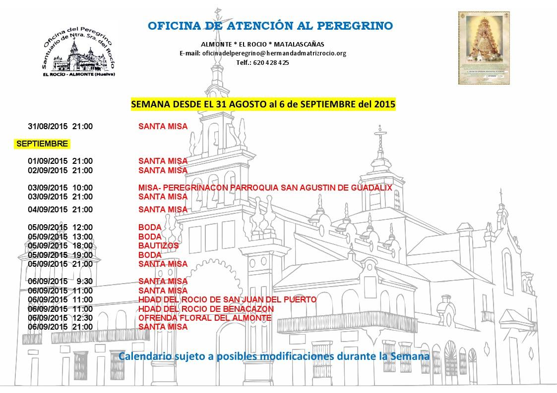 Calendario 31-08 al 6-09 2015