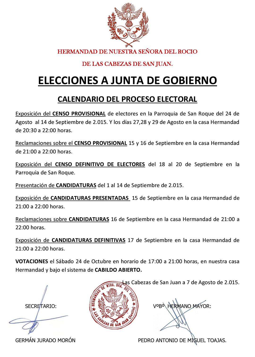 Las Cabezas - Calendario Electoral