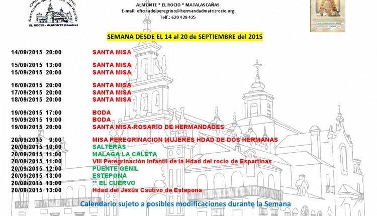 Calendario de Peregrinaciones del 14 al 20 de septiembre de 2015