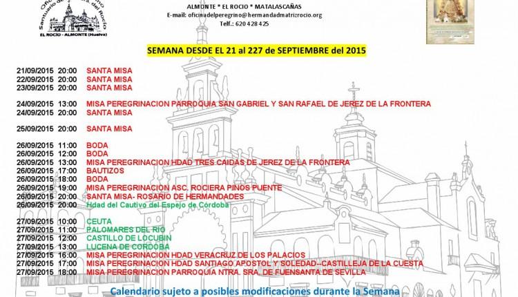 Calendario de Peregrinaciones del 21 al 27 de septiembre de 2015