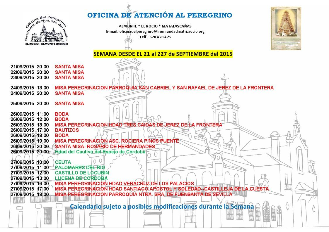 calendario 21 a 27 de septiembre 2015