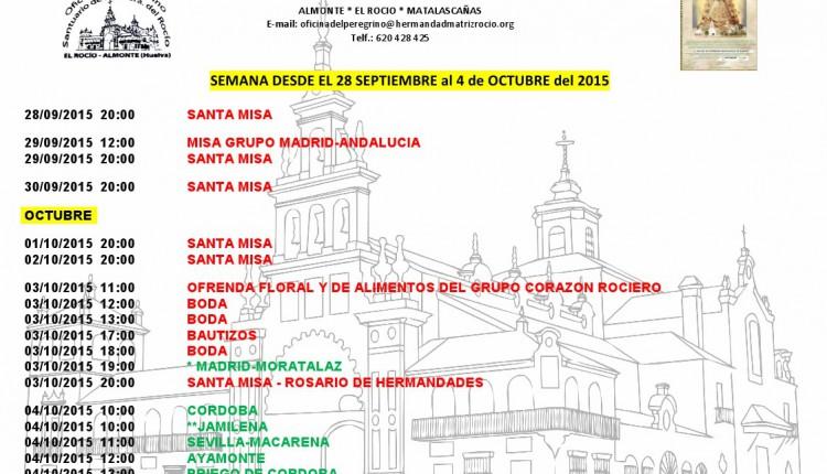 Calendario de Peregrinaciones del 28 de septiembre al 4 de octubre de 2015
