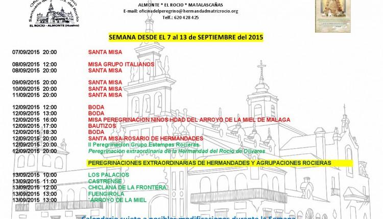 Calendario de Peregrinaciones del 7 al 13 de septiembre de 2015