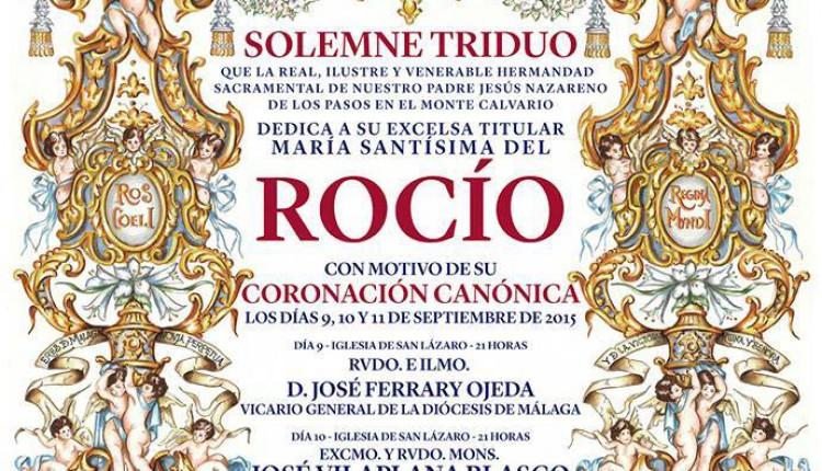 María Santísima Virgen del Rocío de Málaga, la «Novia de Málaga» – Solemne Triduo