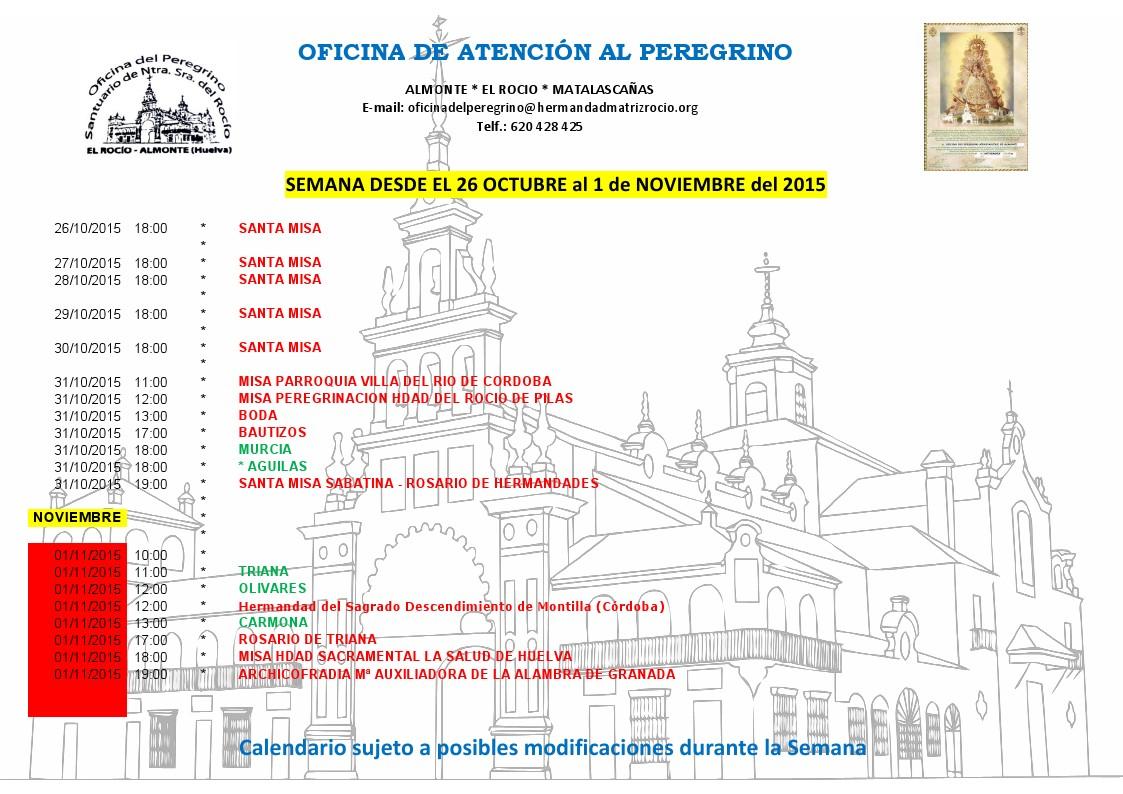 Calendario del 26 octubre al 1 de noviembre de 2015