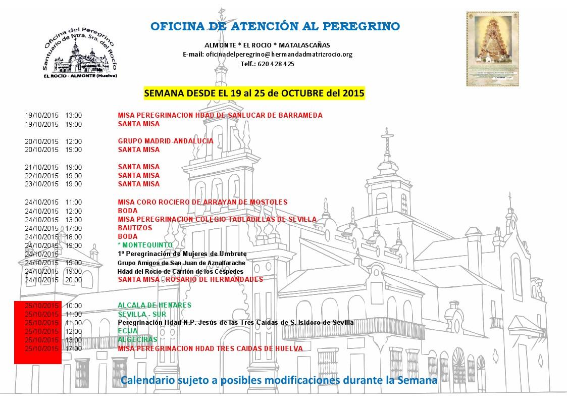 calendario peregrinaciones 19 a 25 de 10 de 2015