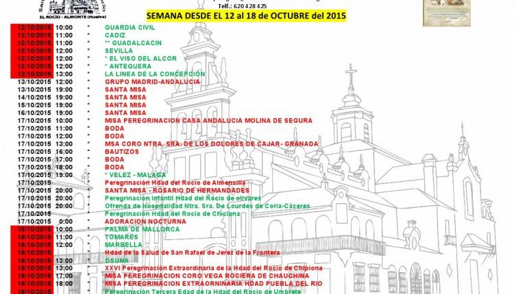 Calendario de Peregrinaciones al Rocío del 12 al 18 de octubre de 2015