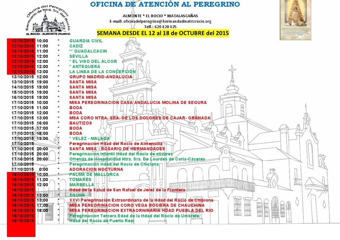 calendario rocio 12 a 18 octubre 2015
