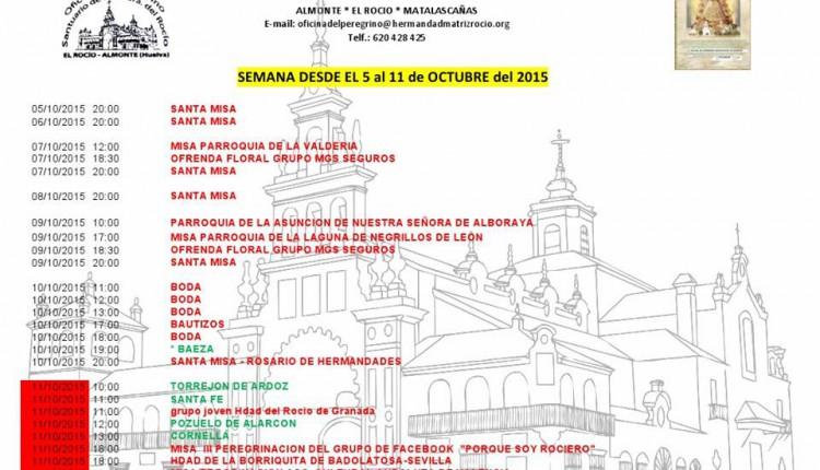 Calendario de Peregrinaciones del 5 al 11 de octubre 2015