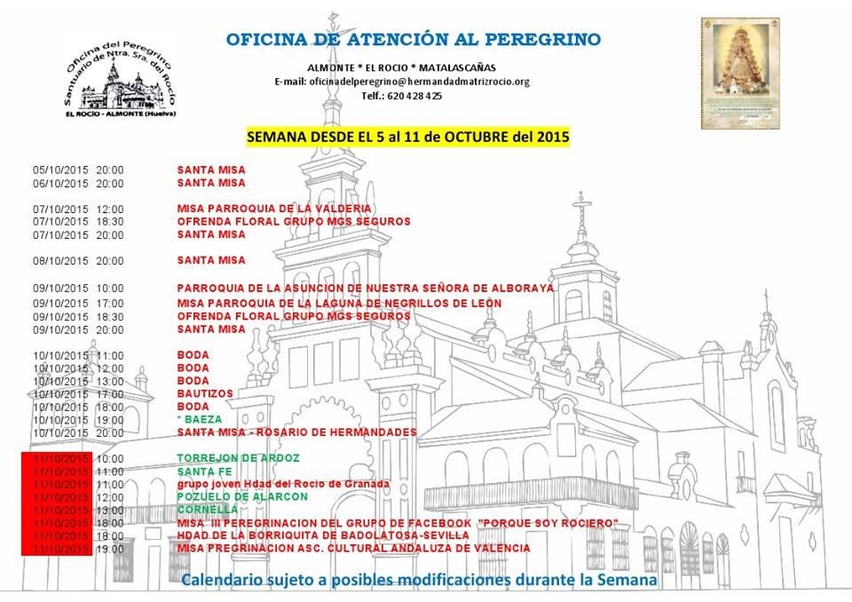 calendario rocio 5 al 11 de octubre 2015