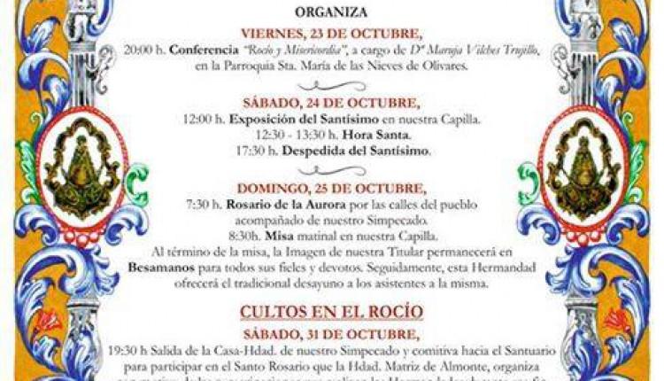 Hermandad de Olivares – Actos y Cultos con motivo de la Peregrinación oficial