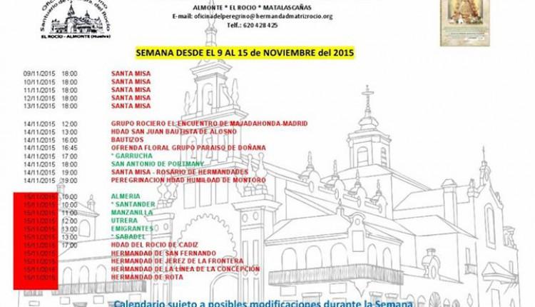 Calendario de Peregrinaciones al Santuario del Rocío del 9 al 15 de noviembre de 2015