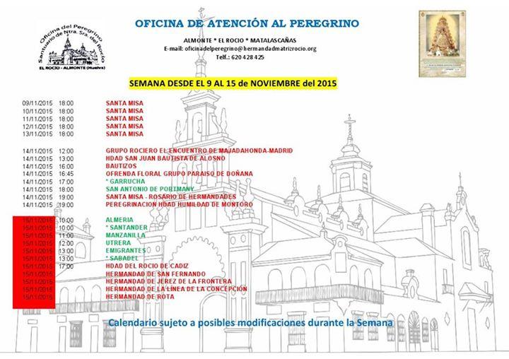Calendario 9 a 15 de noviembre 2015