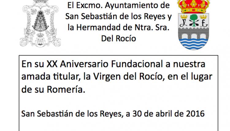 Hermandad de San Sebastián de los Reyes – Colocación de placa conmemorativa XX Aniversario Fundacional