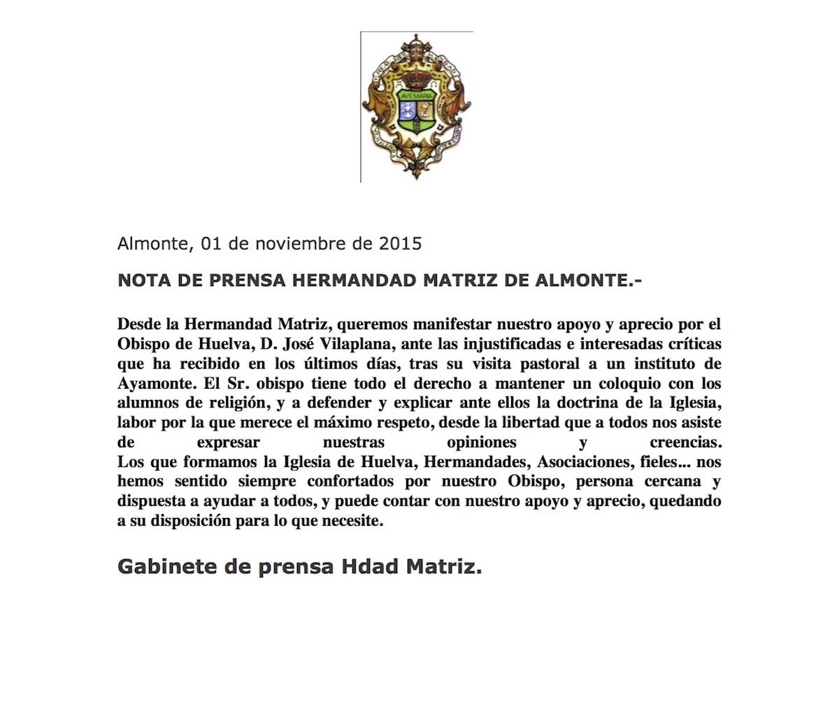 nota de apoyo a nuestro obispo