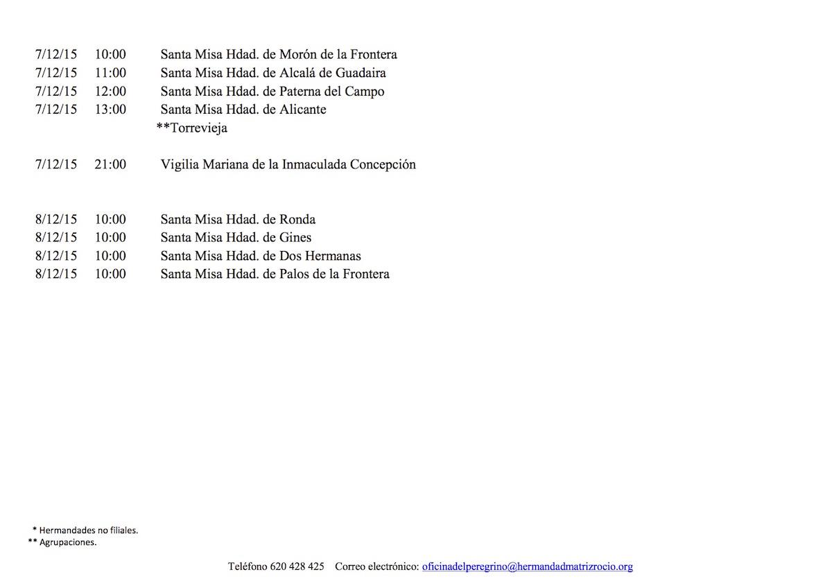 CALENDARIO EXTRAORDINARIO DEl 4 AL 8 DICIEMBRE 2015-2