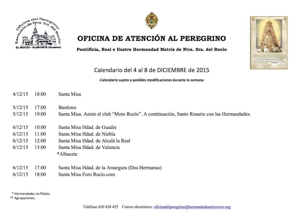 CALENDARIO EXTRAORDINARIO DEl 4 AL 8 DICIEMBRE 2015