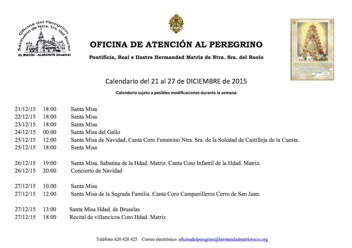 CALENDARIO SEMANAL DEl 21 AL 27 DICIEMBRE 2015