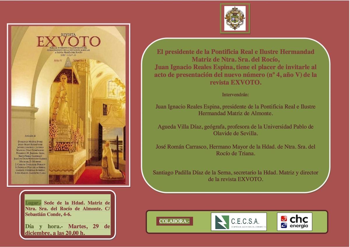 Tarjetón invitación presentación de la revista EXVOTO 2015
