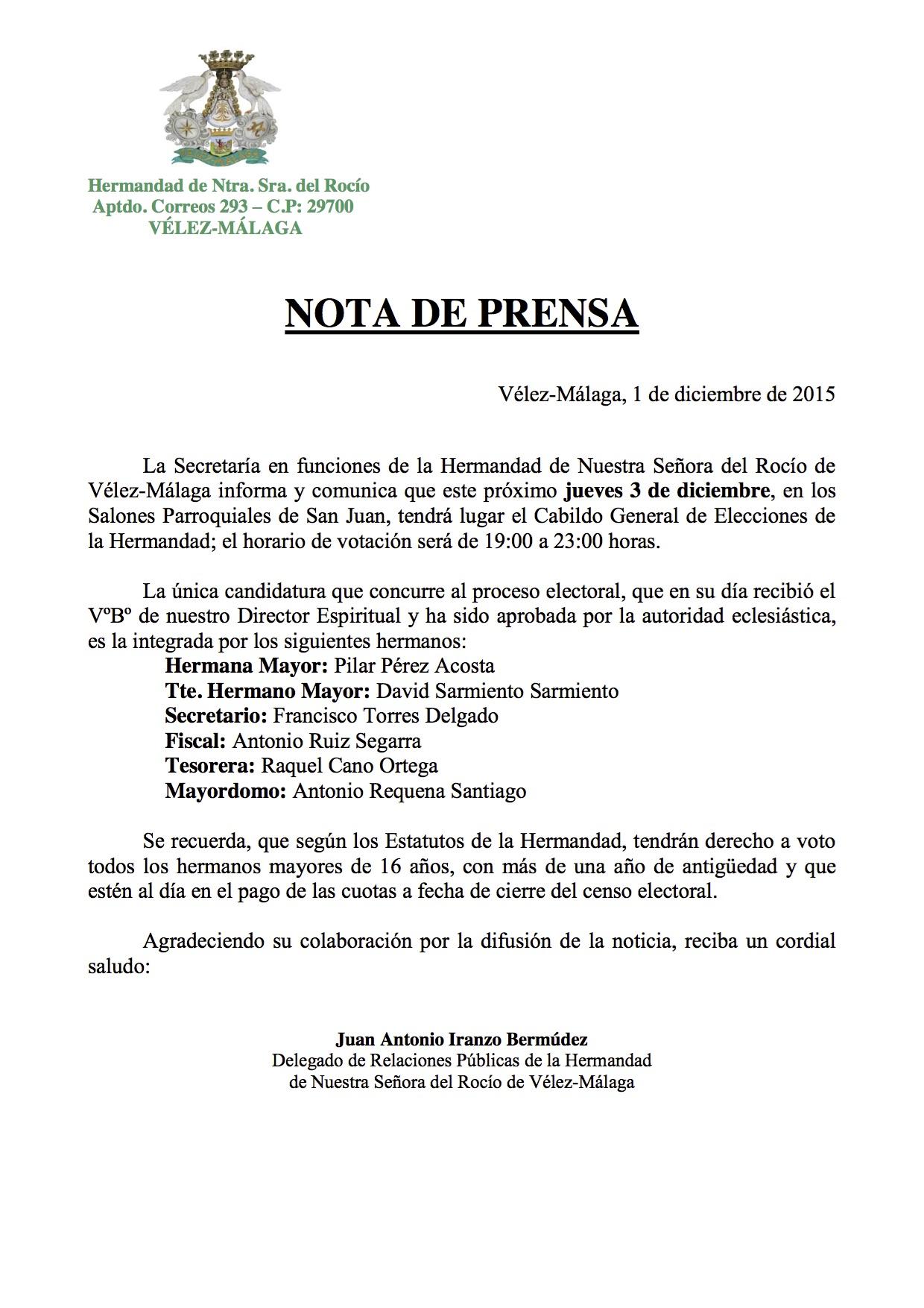 Velez Malaga Cabildo de Elecciones 2015