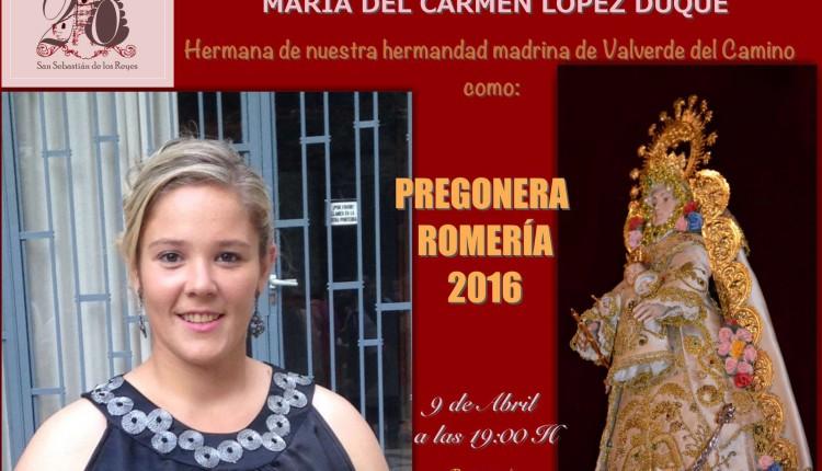 Hermandad de San Sebastián de los Reyes – Doña María del Carmen López Duque, Pregonera del Rocío 2016