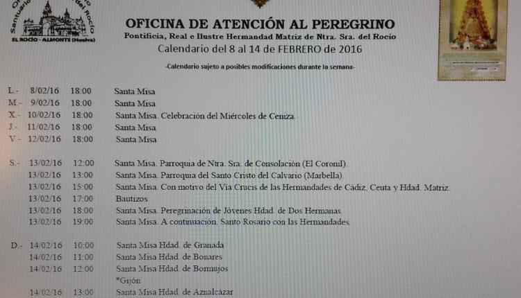 Calendario de Peregrinaciones del 8 al 14 de febrero de 2016
