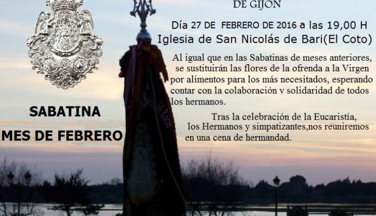 Hermandad de Gijón – SABATINA FEBRERO 2016