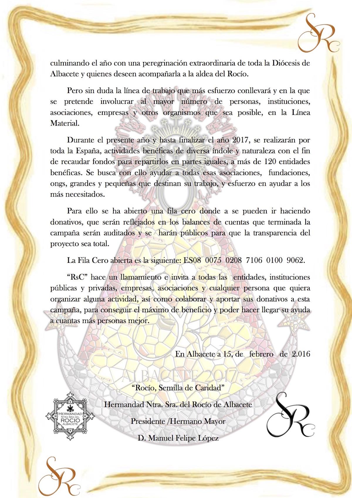 NOTA DE PRENSA  Rocio. Semilla de Caridad-2