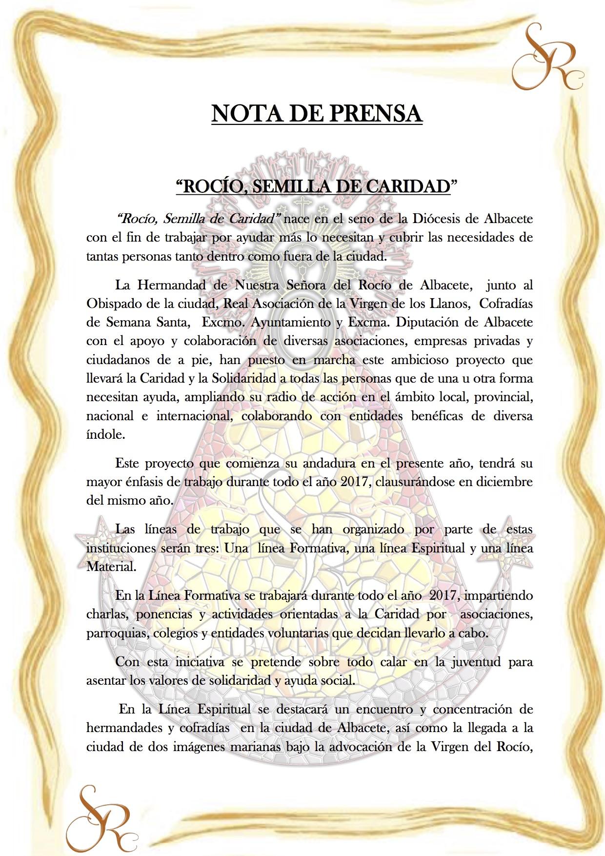 NOTA DE PRENSA  Rocio. Semilla de Caridad