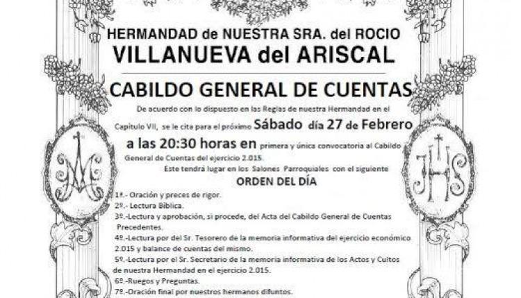 Hermandad de Villanueva del Ariscal – Cabildo General de Cuentas