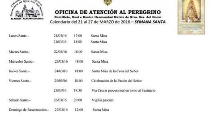 Calendario de Celebraciones del 21 al 27 de marzo de 2016 en el Santuario del Rocío