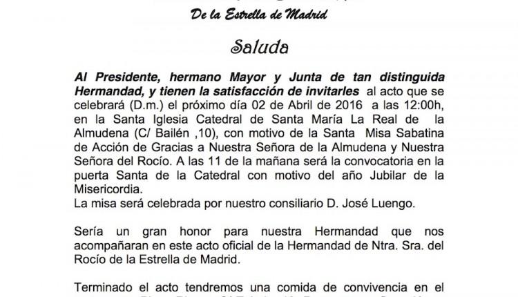 Hermandad del Rocío de La Estrella – Acto en la Santa Iglesia Catedral de Santa María La Real de  la Almudena