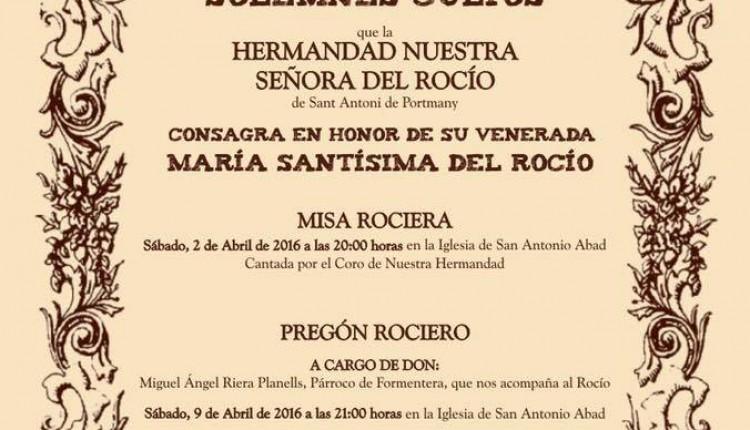 Hermandad de San Antonio de Portmany – Pregón y Solemnes Cultos 2016
