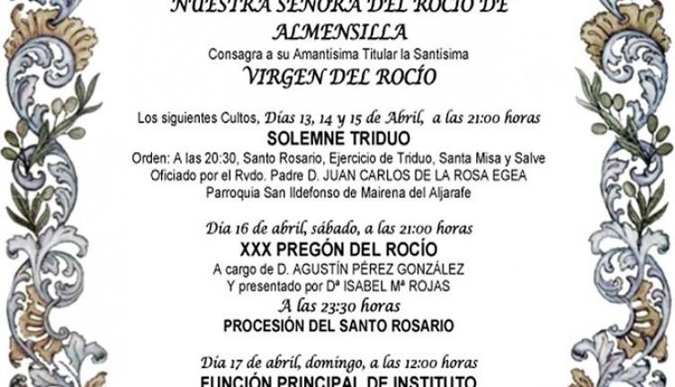 Hermandad de Almensilla – Solemne Triduo y Pregón  a cargo de Agustín Pérez González