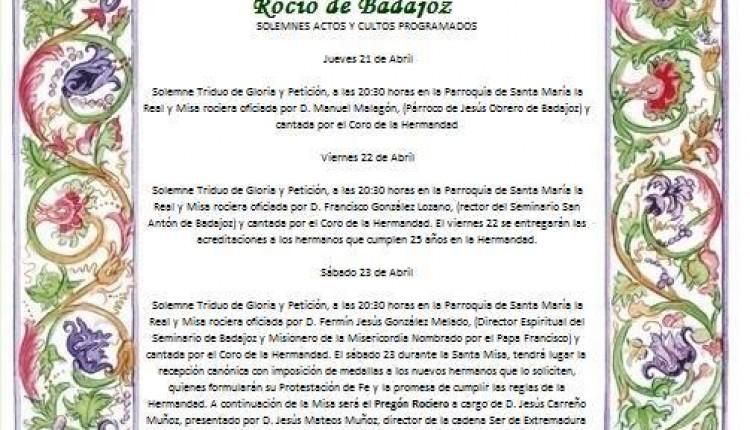 Hermandad de Badajoz – Solemne Triduo 2016