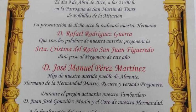 Hermandad de Bollullos de la Mitación – XVII Pregón Rociero a cargo de  José Manuel Pérez Martínez