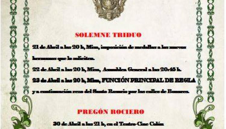 Hermandad de Bonares – Solemne Triduo y Pregón a cargo de Don Felipe Barba Martínez