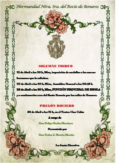 Bonares cartel Triduo 2016
