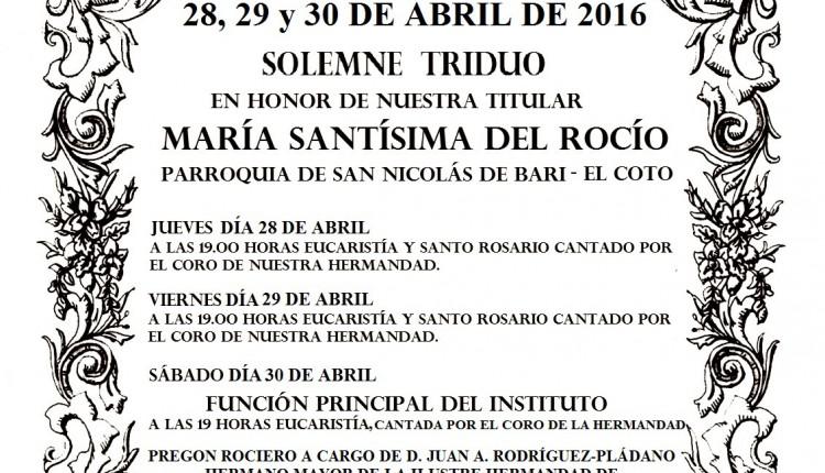 Hermandad de Gijón – Solemne Triduo y Pregón a cargo de Jua A. Rodríguez-Pládano