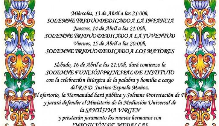Hermandad de Chucena – Solemne Triduo y Pregón a cargo de Juan José de la Torre Vega